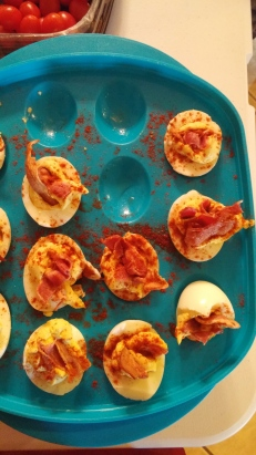 Sometimes it's about contrast: deviled eggs with paprika and BACON!